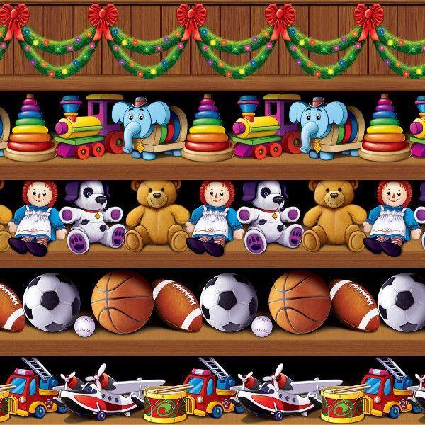 Insta-Theme Santa's Workshop Backdrop - 4' x 30' Case Pack 6