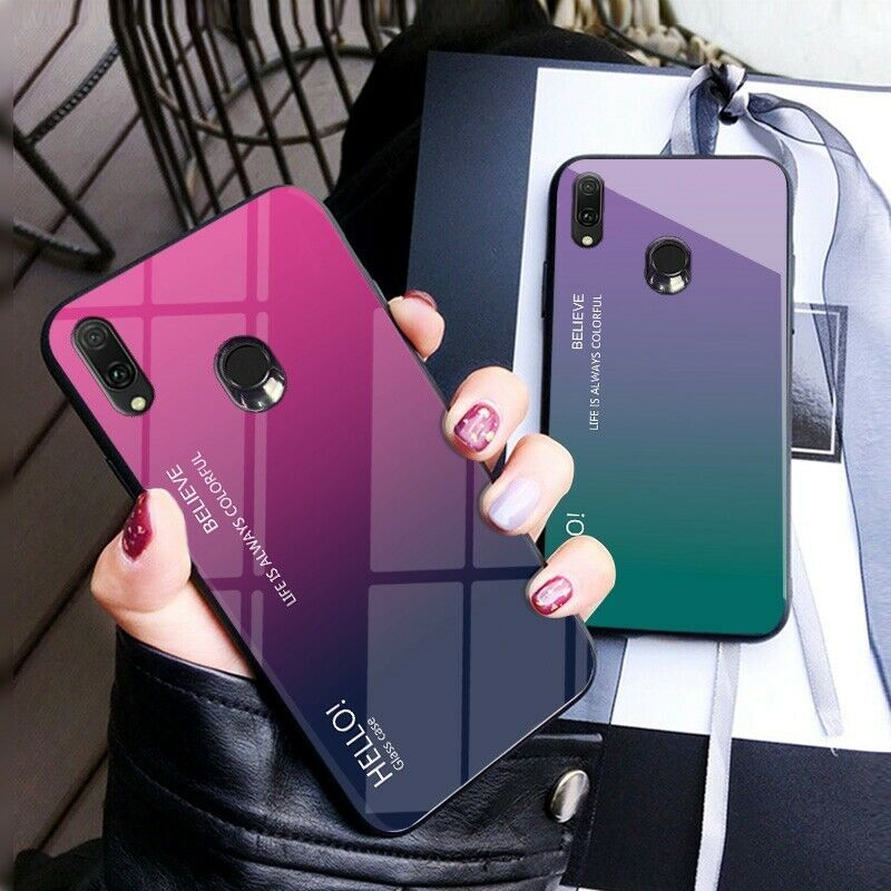 For Samsung Galaxy A10 A20 A30 Hard Phone Case Tempered Glass Back Phone Cover #afflink