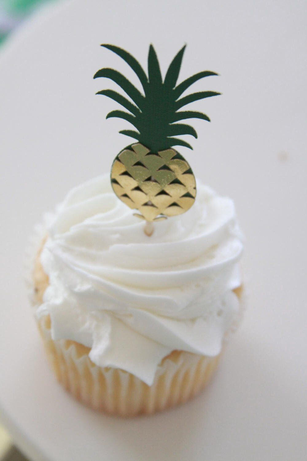 Gold pineapple cupcake toppers hawaiian bridal shower