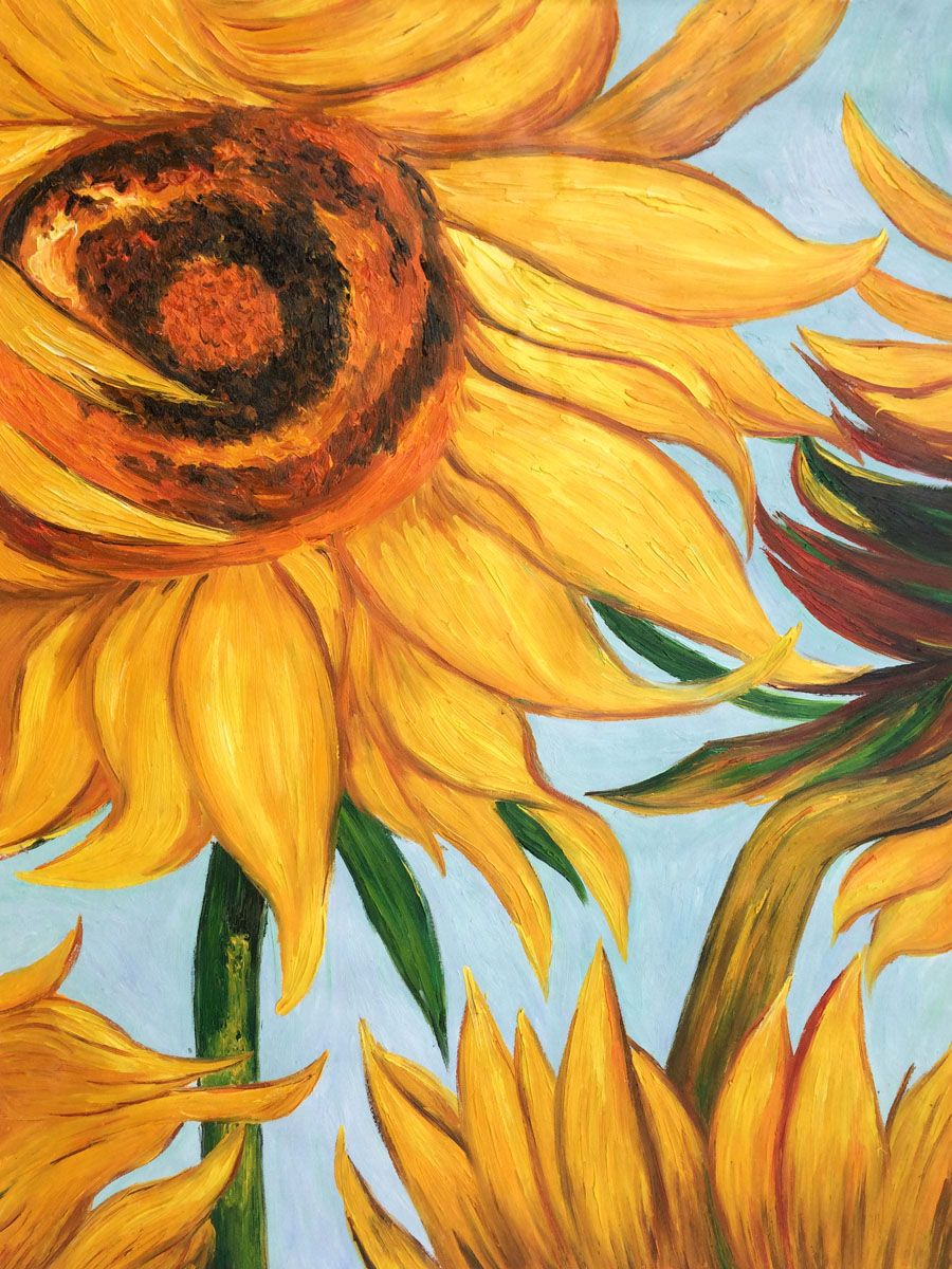 Sunflowers Detail Vincent Van Gogh With Images Oil