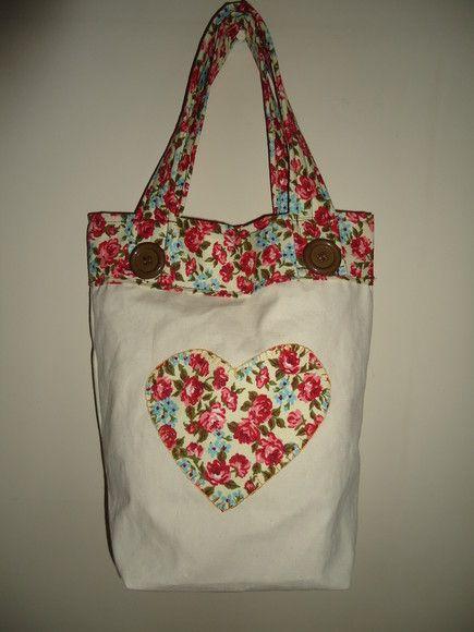 bd32f08e2 Bolsa em algodão cru, com forro interno em algodão estampado 100%, com  bolso…