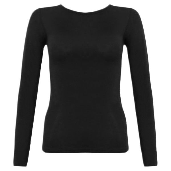 Jessie Long Sleeved Basic Jersey Top ($12) ❤ liked on Polyvore featuring tops, black, long sleeve jersey top, women plus size tops, jersey knit tops, jersey tops and plus size layering tops