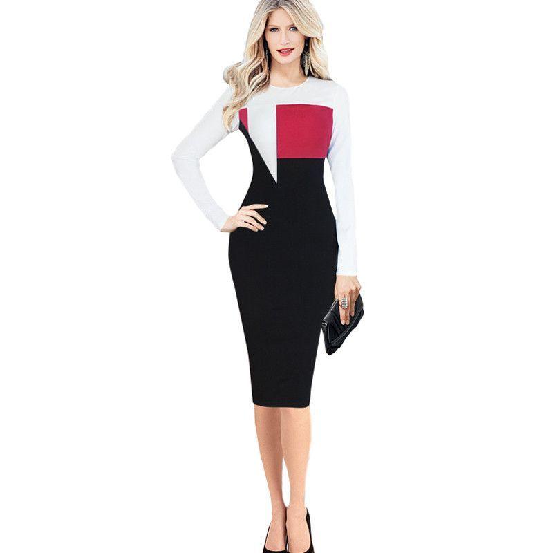 Women's Elegant Package Hip Work Office Dress 2016 Autumn Winter O-Neck Long Sleeve Color Block Patchwork Bodycon Dresses