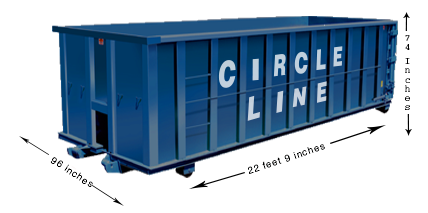 30 Yard Dumpster Length 22 Feet 9 Inches Width 96 Inches Height
