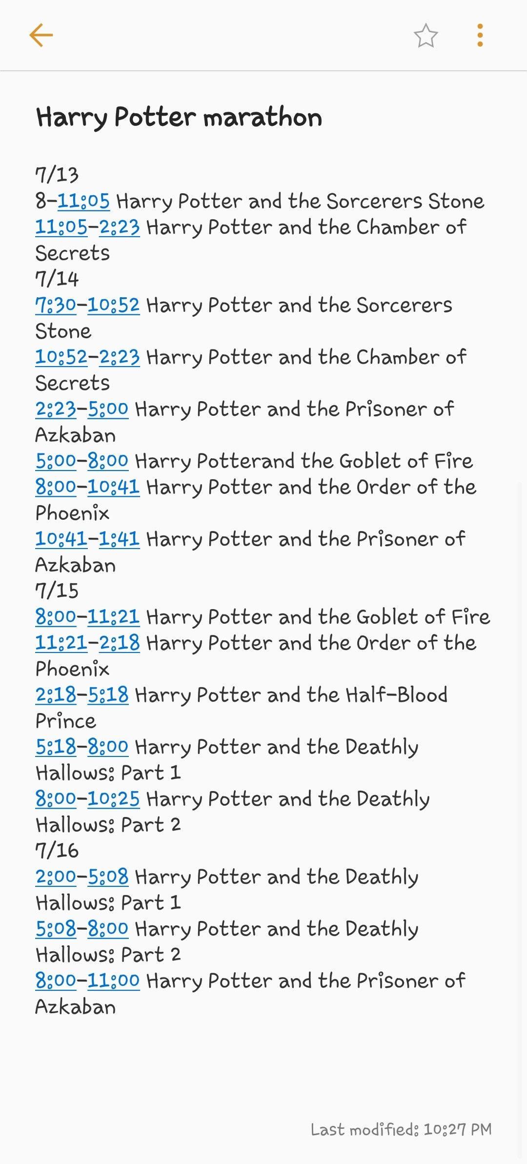 Syfy Harry Potter Wizarding Weekend Marathon Schedule Starting July 13 2018 Harry Potter Marathon Harry Potter Movie Night Harry Potter Movies