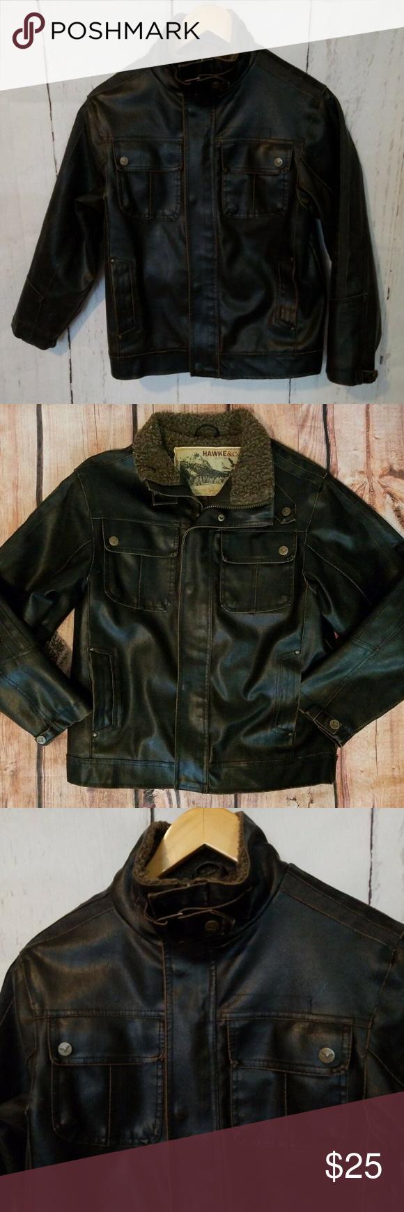 Hawke Co Bomber Faux Leather Jacket Kid S 10 12 Leather Jacket Kids Jacket Jackets [ 1740 x 580 Pixel ]