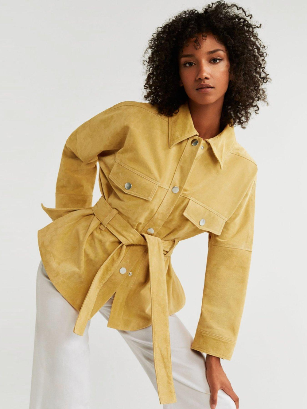 Mango Suede Belted Jacket in Yellow Jackets, Jackets for