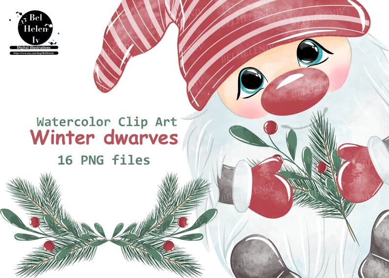 Christmas Gnomes Clipart Watercolor Gnomes Clipart Nordic Etsy Clip Art Christmas Tree Clipart Holiday Artwork
