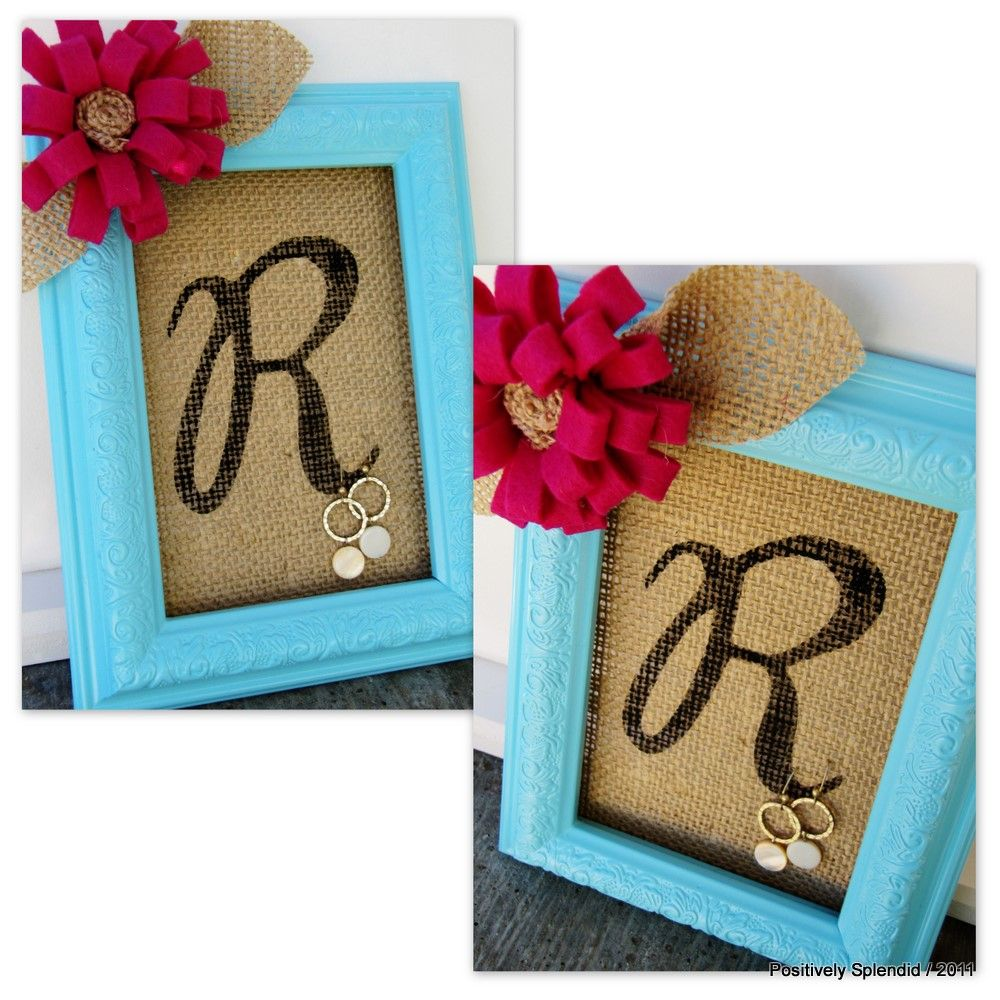 Positively Splendid Crafts: Framed Burlap Earring Holder Tutorial