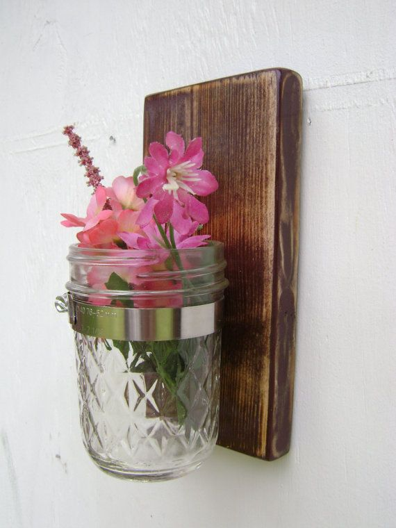 country cottage mason jar wood wall decor by UncleJohnsCabin, $22.00