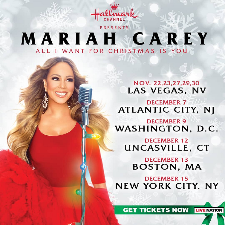 Mariah Carey Announces The All I Want For Christmas Is You Tour Presented By Hallmark Channel Mariah Carey Mariah Hallmark Channel