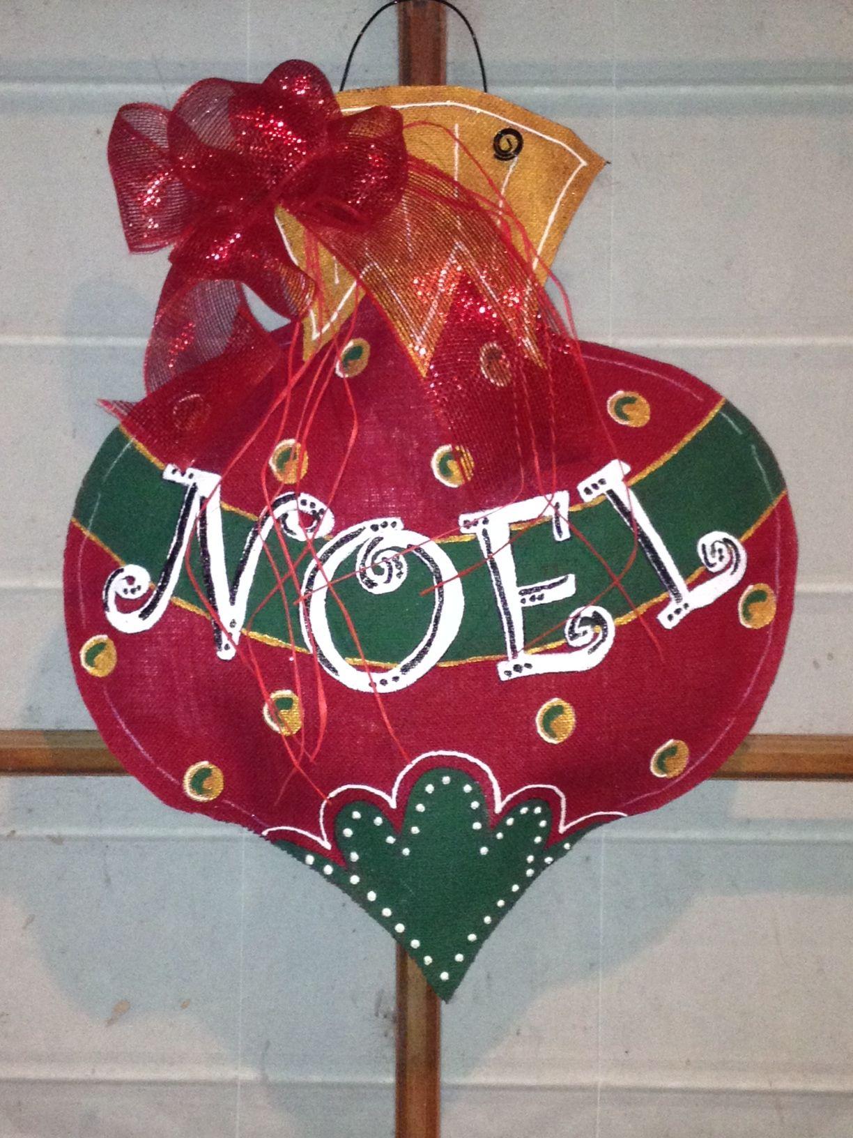 Burlap Christmas Ornament Door Hanger Signs And Sayings