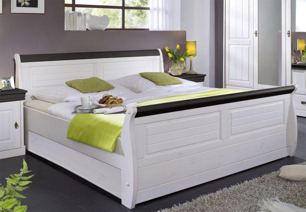 Massiv Holzbett 140x200 Bett Doppelbett Kiefer massiv Holz weiß - schlafzimmer landhausstil weiß