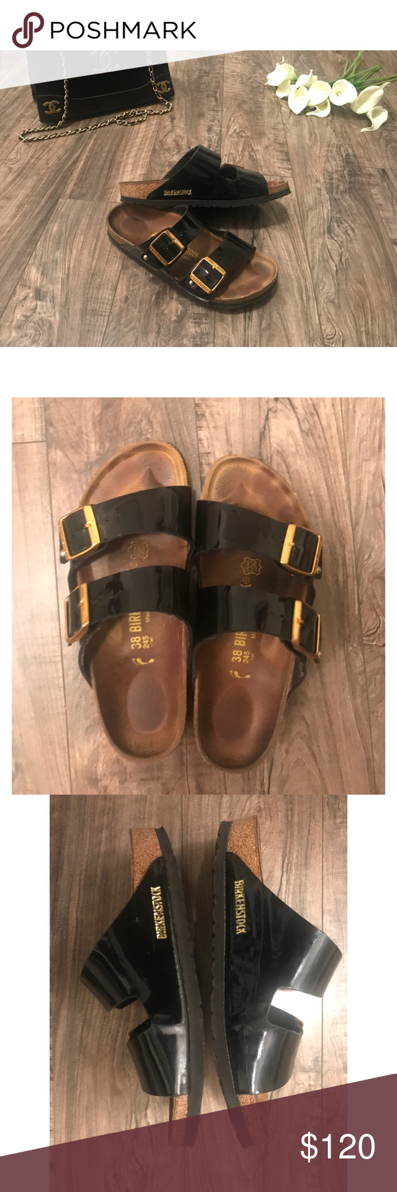 Arizona Patent Leather Black and Gold Birkenstock Patent Leather Black Birkenstock sandals with Gold buckle details. Sandals are in used pre-owned condition and shows  signs of wear. Size 8, made in Germany 🇩🇪 Birkenstock Shoes Sandals