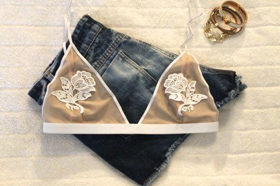 Lace applique bralette lace bralette white lace bralette by