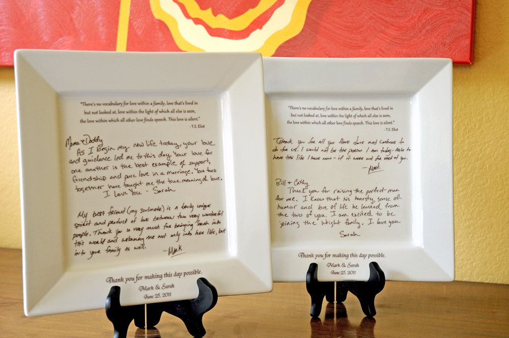 Personal Letter To Parents On A Platter Wedding Gift From