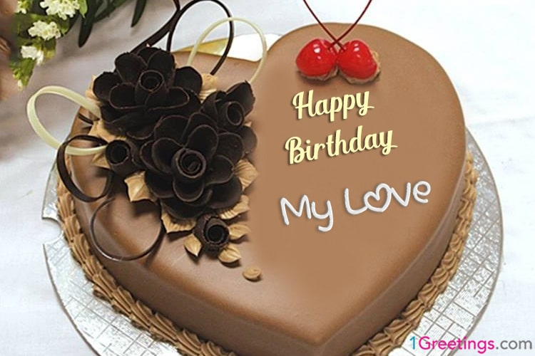 Chocolate Heart Birthday Cake For Lover With Name Editor Online