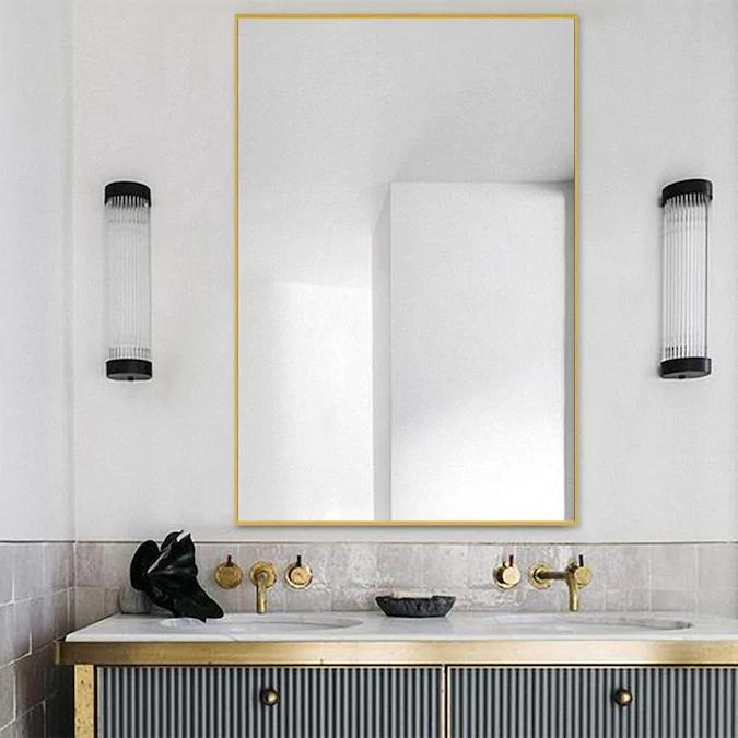 Neutype 24 02 In L X 35 83 In W Gold Framed Wall Mirror Lowes Com Contemporary Bathroom Mirrors Bathroom Mirror Contemporary Bathroom