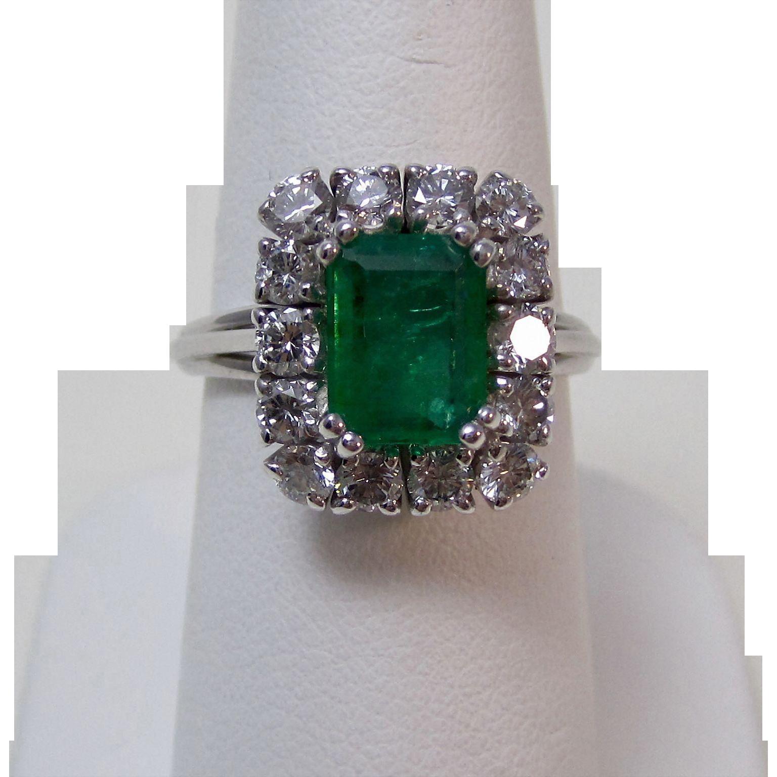 Natural Emerald & Diamond Estate Engagement Birthstone