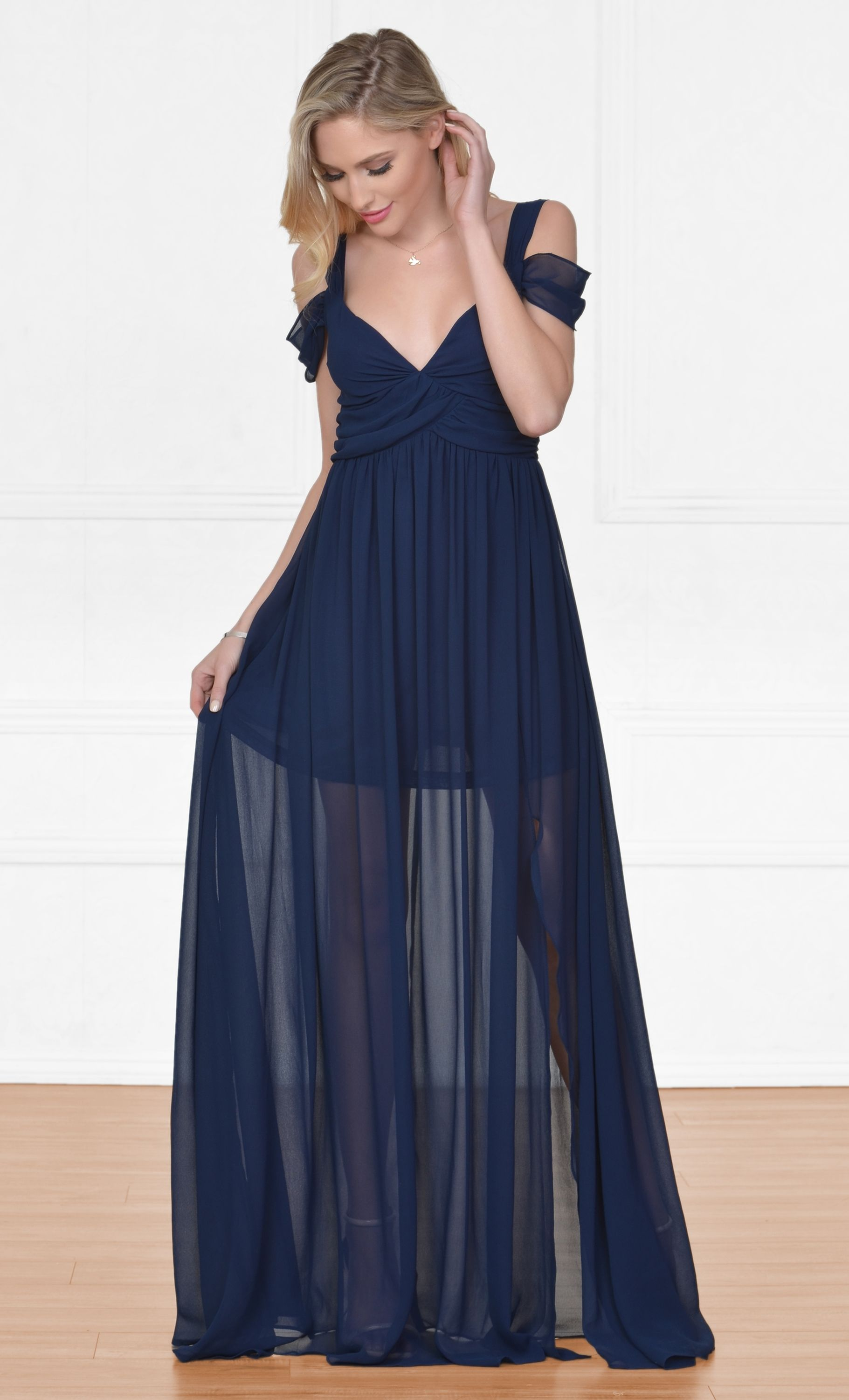 Lace v neck maxi dress  Once Upon a Time Navy Blue Sleeveless Off The Shoulder V Neck Long