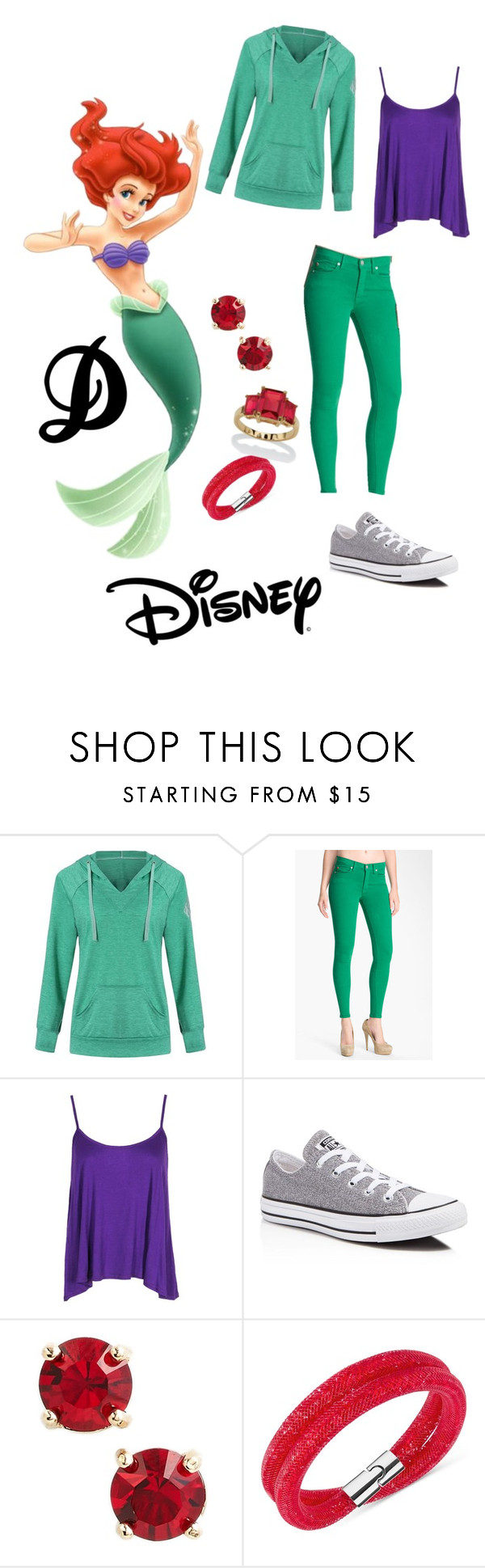"""""""Ariel"""" by nays811 ❤ liked on Polyvore featuring Hudson Jeans, Converse, Kent & King, Swarovski, Palm Beach Jewelry and Disney"""