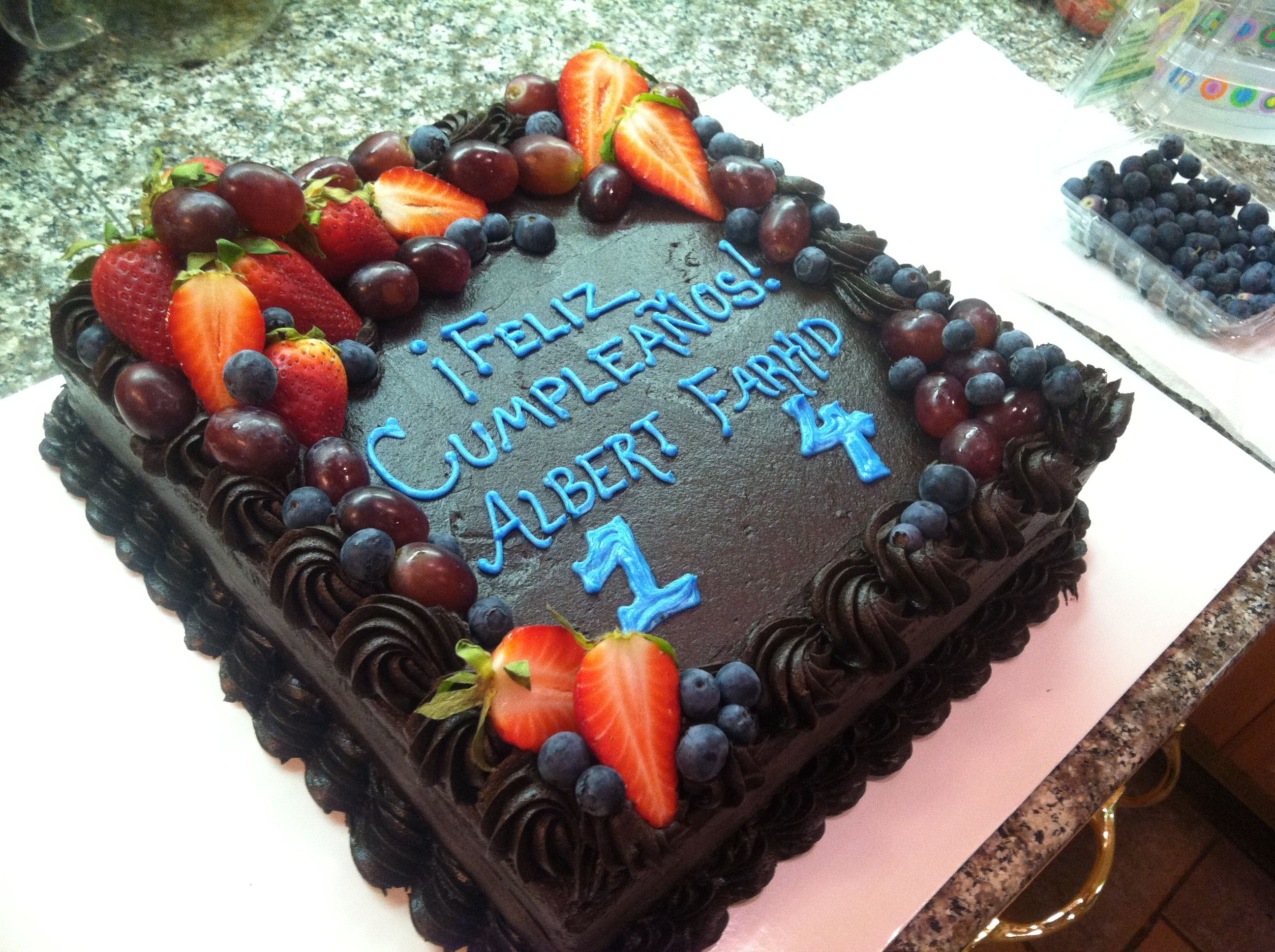 Dark chocolate birthday cake with fresh fruit | Birthday ...