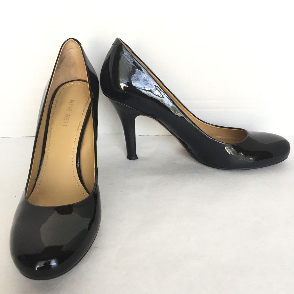 c70a06fad743 Women s Nine West Black Patent Leather Round Toe High Heel Pumps Size US 9  M