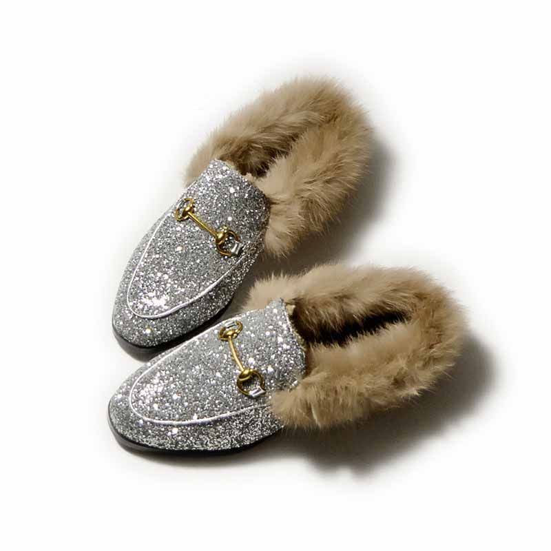58a4545b3 Flat Mules Slippers Fur Winter Closed Toe Slides Design Backless Women Flat  Slip Shoes in Black Slip-On Loafers 2017