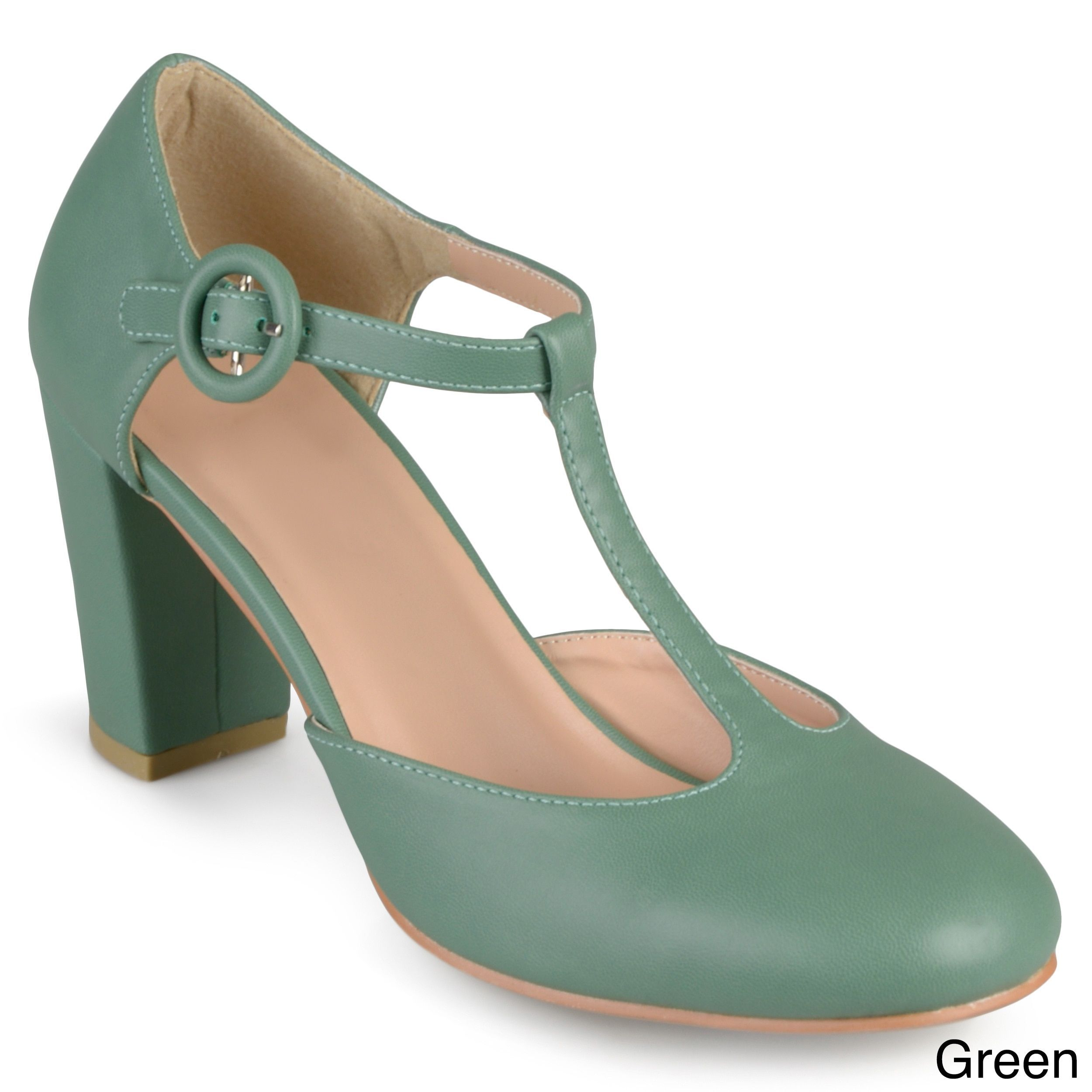 0094303e9f6d Journee Collection Women s  Talie  Round Toe T-strap Pumps (Green- 10)