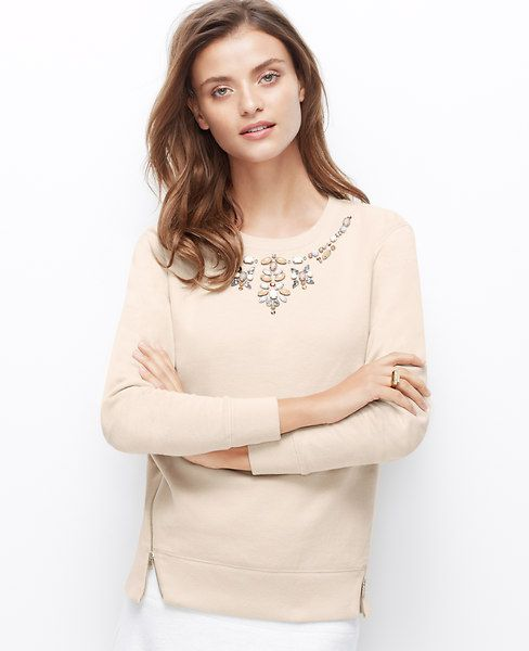 Jeweled Side Zip Sweatshirt, No need for a necklace - this ...