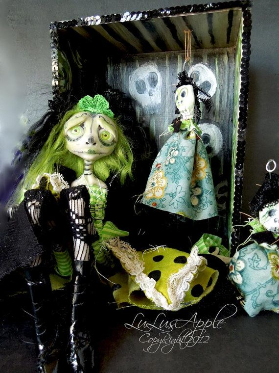 Art doll Dia de los Muertos day of the dead OOAK Shadowbox Green Aracely RESERVED. , via Etsy.