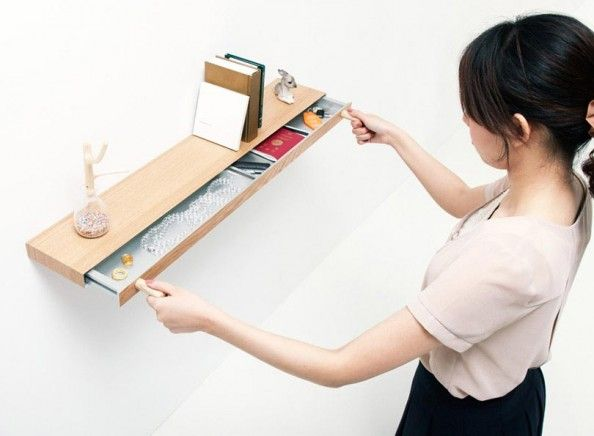 Minimalist Wall Shelf with Private Drawer