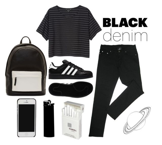 """""""///Black\\\"""" by arybo13 ❤ liked on Polyvore featuring Monki, adidas, PB 0110, Dunhill, women's clothing, women's fashion, women, female, woman and misses"""