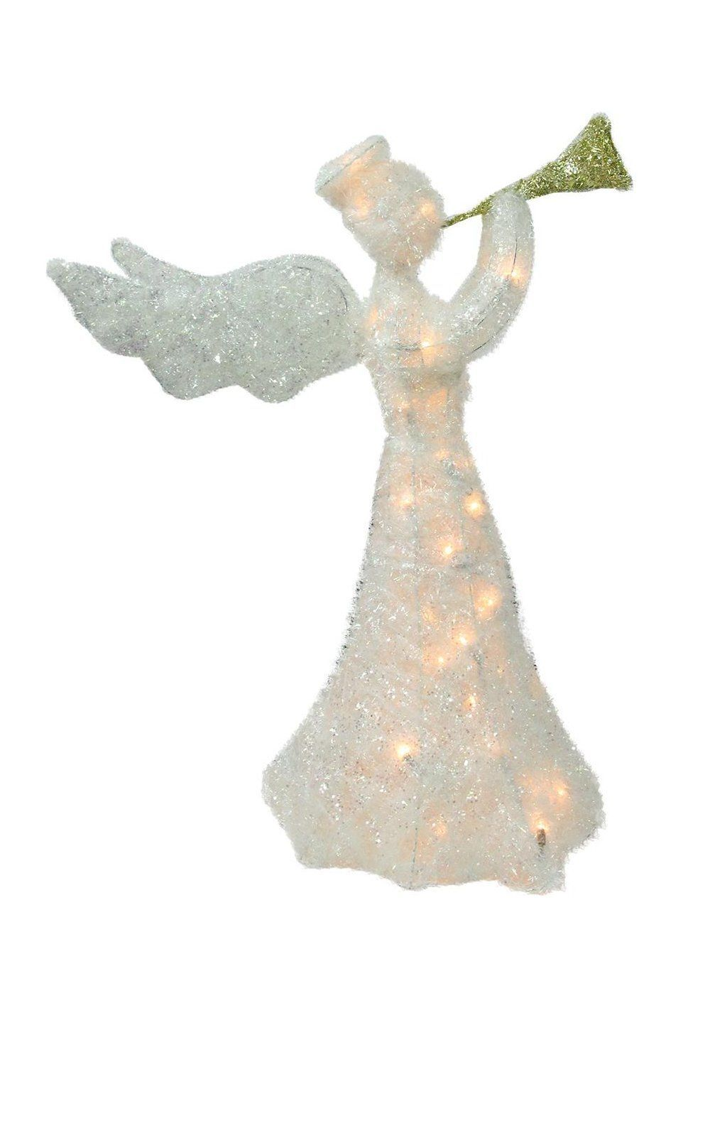 lighted tinsel trumpeting angel outside christmas decoration buy christmas angel yard decorations here silver tinsel