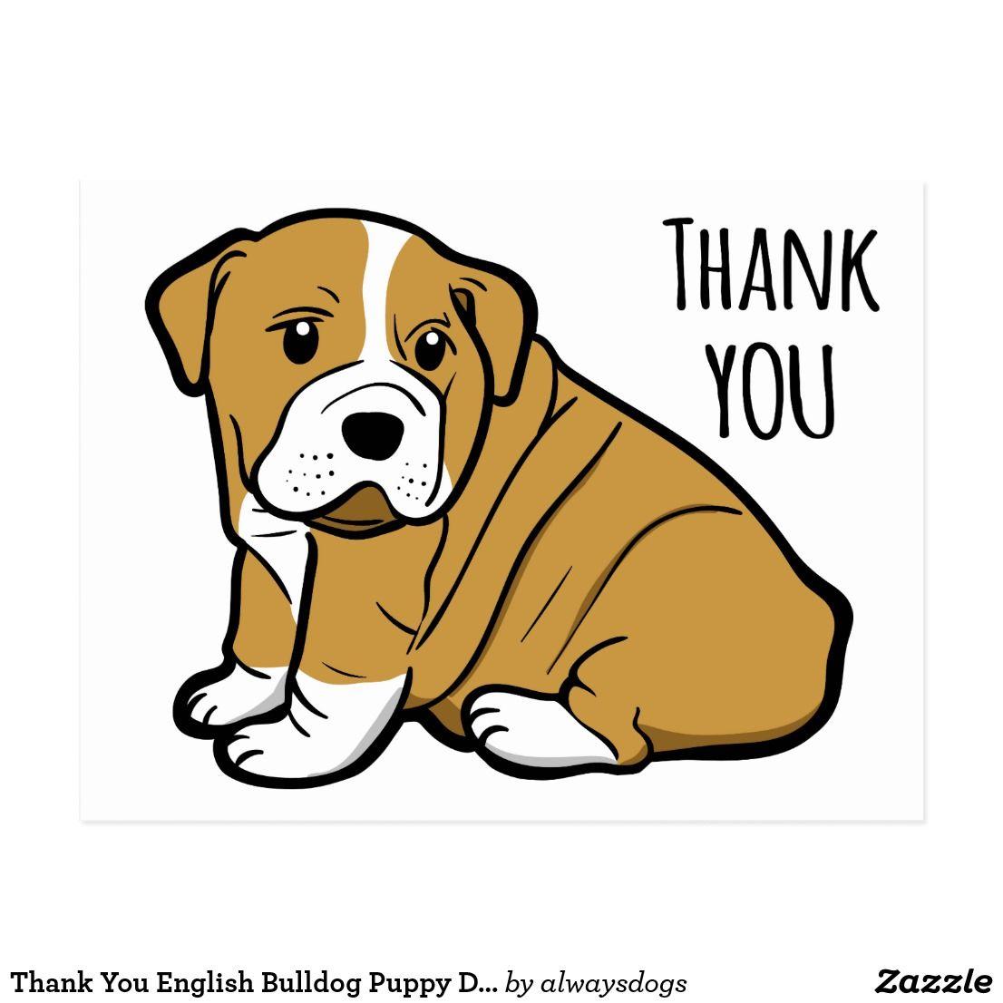 Thank You English Bulldog Puppy Dog Cartoon Postcard Zazzle Com