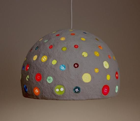 Paper Mache Pendant Light With Multicolored Buttons Recycled White Paper Buttons Hanging Lamp 30 Cm 12 Inches Diameter Lampshade In 2020 Paper Lampshade Pendant Light Set Pendant Light