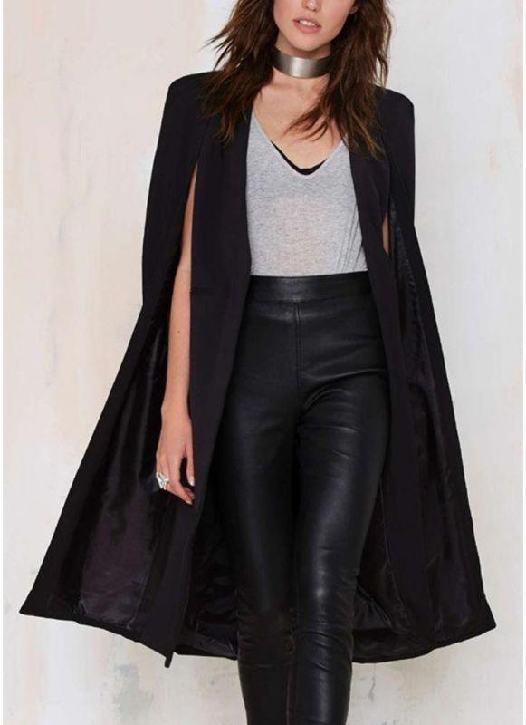 e20c609ce6 B| Chicloth Autumn Women Long Cloak Blazer Coat Cape Cardigan Jacket Slim  Office OL Suit