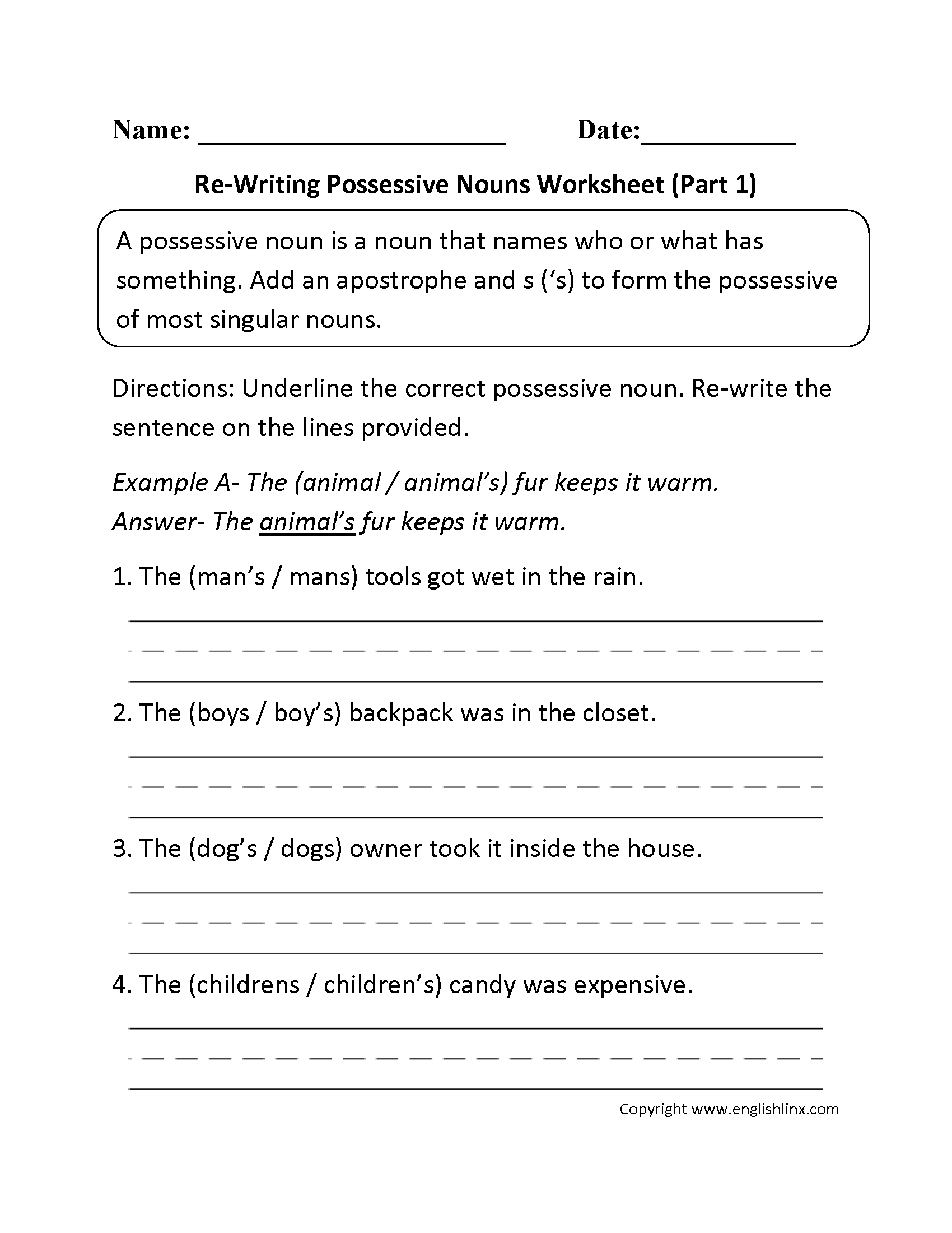 Re Writing Possessive Nouns Worksheet Part 1