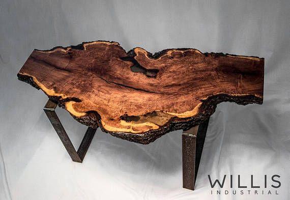 Live Edge Mesquite Slab Table With Steel Legs Epoxy Coating