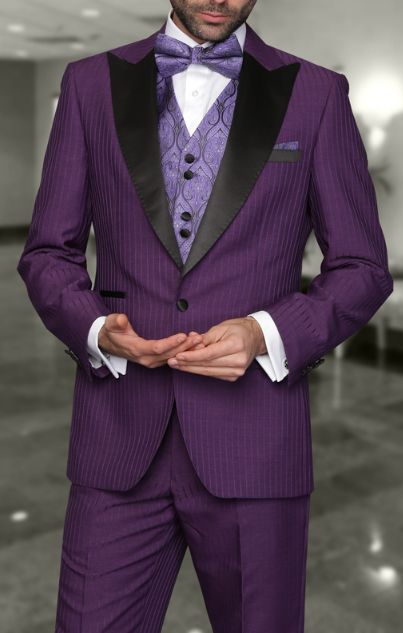 Tzarelli Mens Natalie Purple 3pc Tonal Stripe Modern Fit Tuxedo ...