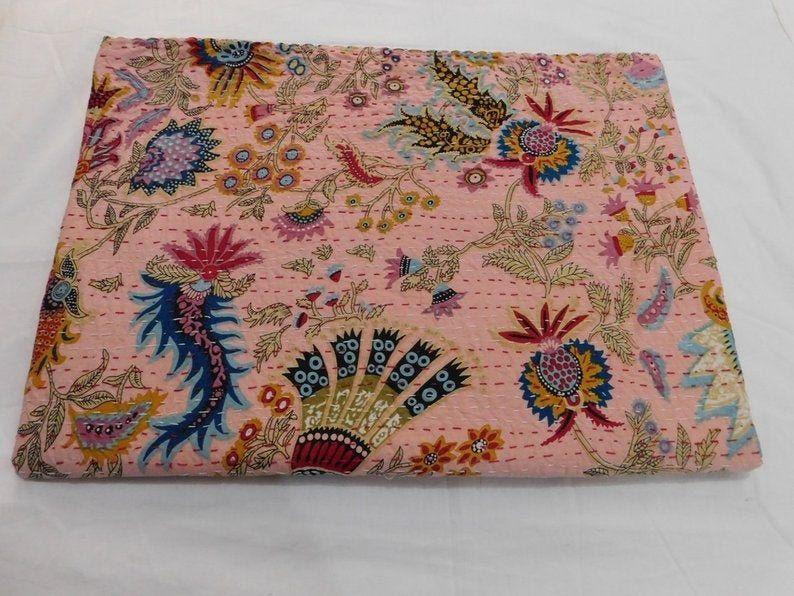 New Indian Cotton Kantha Quilt Bedcover Art Decorative Gudari King Size Blanket