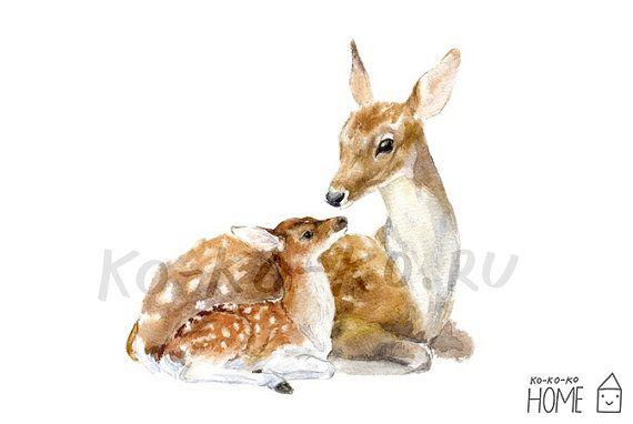 3b890dfc7178b Animal Poster A4 (unframed). MOTHER DEER and FAWN Print of Original ...