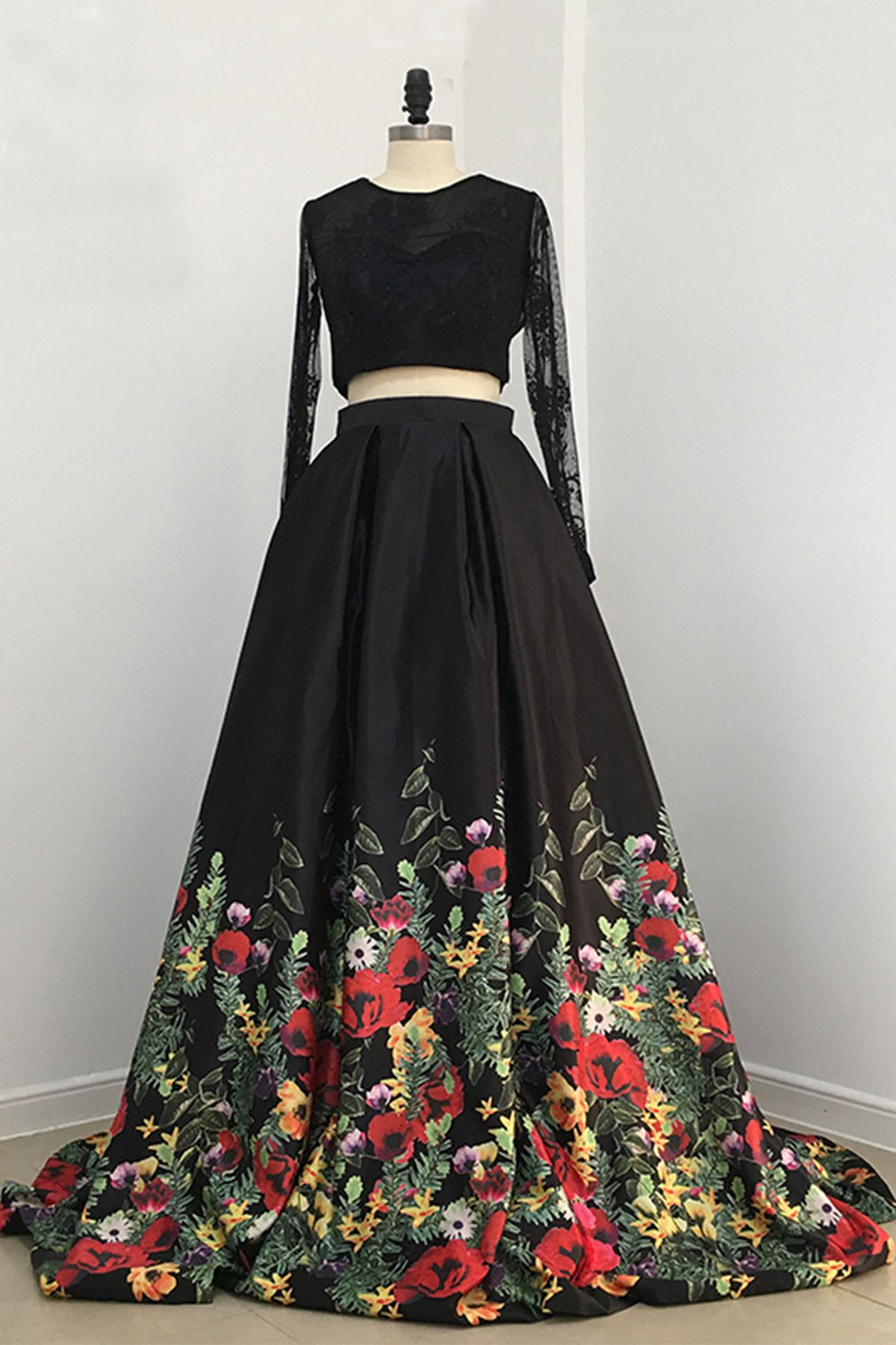 Elegant black floral polyester two pieces prom gown vintage prom