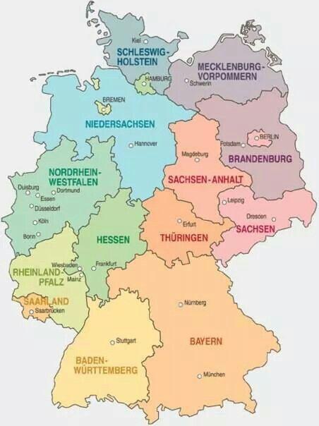 Deutschlandkarte Germany German Language Bremen
