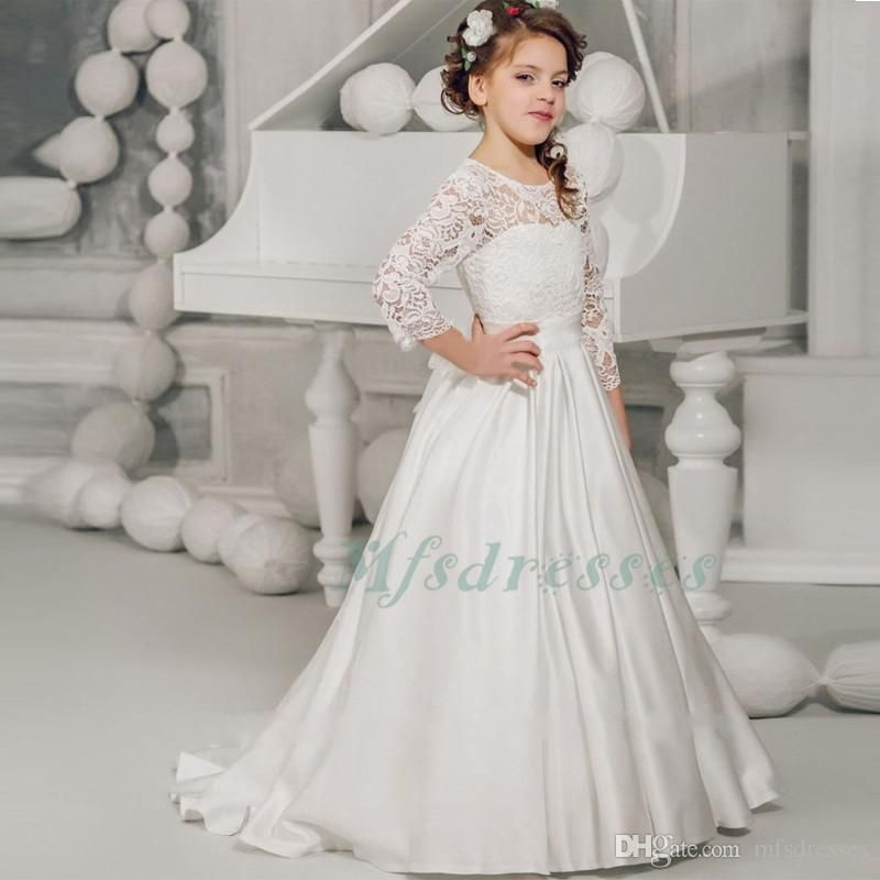 3/4 Sleeve Girls First Communion Dress For Girls 2017 White Lace ...