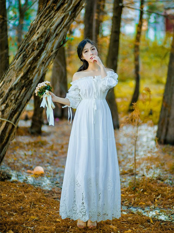 Bridesmaid Dress Vintage Princess Nightgowns Goddess Long Dress White  Cotton Sleepwear For Women Pregnant women dress Plus size bcbf4a61b