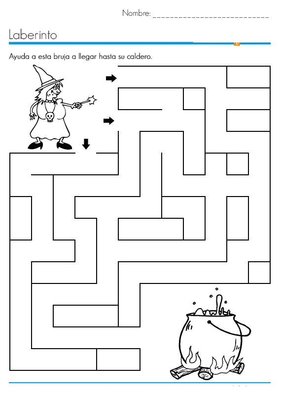 halloween maze worksheet | executieve functies | Pinterest | Hexe ...