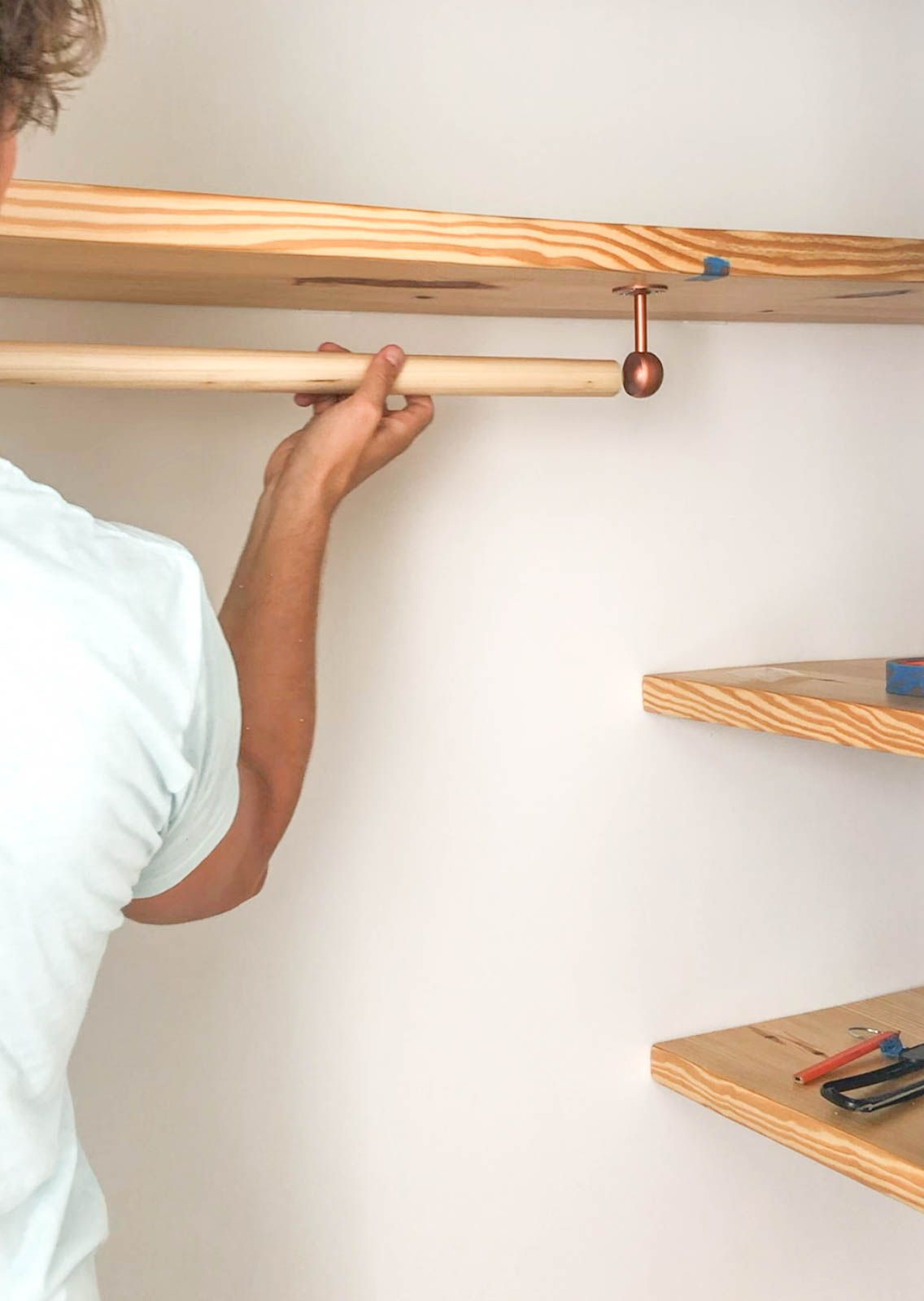 Diy Floating Wood Shelves Clothing Bar In Honor Of Design In 2020 Wood Shelves Wood Shelves Bedroom Wood Closet Shelves