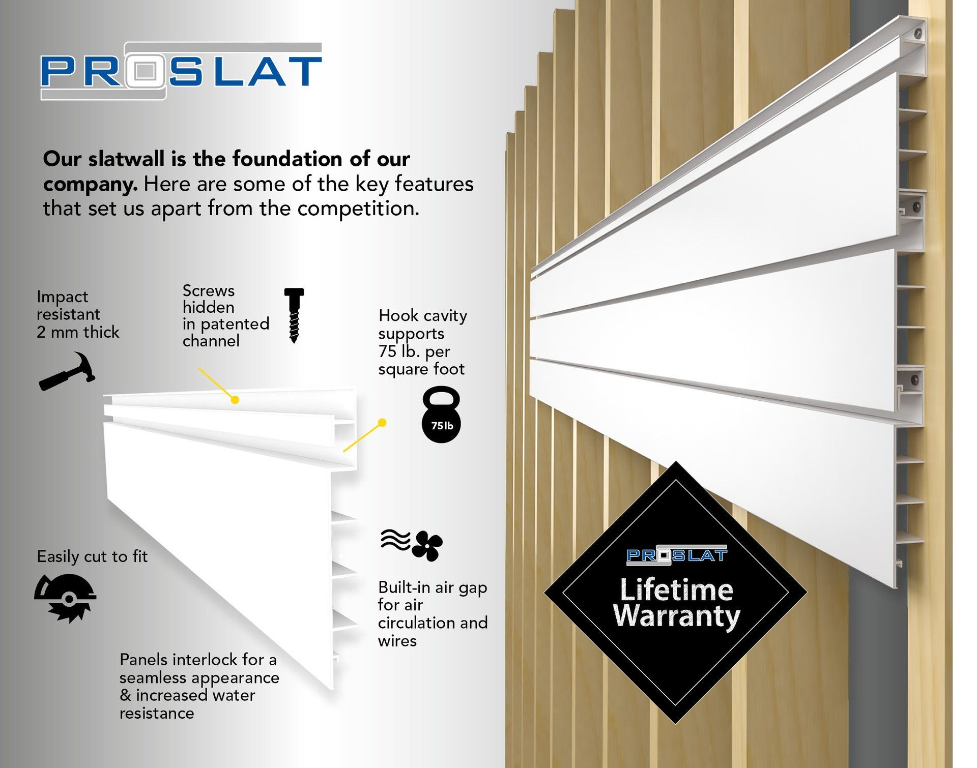 Our Most Popular Slatwall Pvc Slatwall Comes In Two Different Configurations And Four Different Colors The Heavy Duty Versatile Slat Wall Wall Systems Pvc