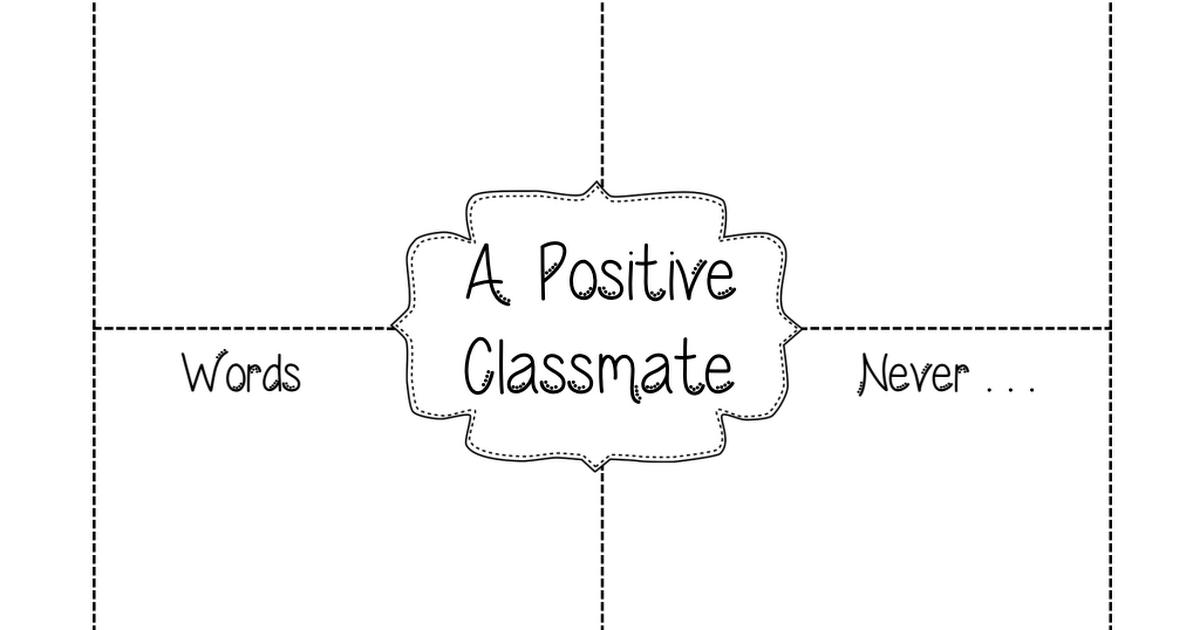 Positive Classmate Pdf Back To School Team Building Activities